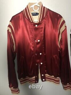 Vintage Ralph Lauren Polo Ball Satin Jacket L EUC RRL Pwing Bear 00s Made In Usa