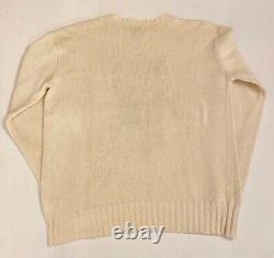 Vintage Ralph Lauren Polo Bear Knit Sweater Polo Sport Golf Crewneck White Ivory