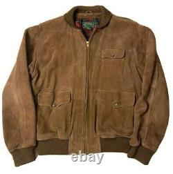 Vintage Ralph Lauren Polo Country Suede Leather Bomber Jacket Sz L MSRP $2200