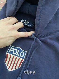 Vintage Ralph Lauren Polo K Swiss Hoodie Sweatshirt Stadium Cookie Lo-life Pwing