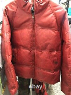Vintage Rare Polo Ralph Lauren Leather Down Puffer Bomber Jacket sz XL Red