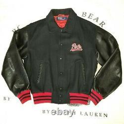 Vtg 90s Og Polo Ralph Lauren Wool Leather Varsity Basketball Jacket Sz L 1992