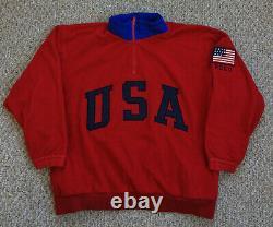 Vtg 90s POLO Ralph Lauren Superman USA Fleece Sport Ski Bear Stadium 93 Crest