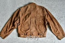 Vtg 90s Ralph Lauren Polo Brown Suede Leather Cropped Trucker Jacket Coat M