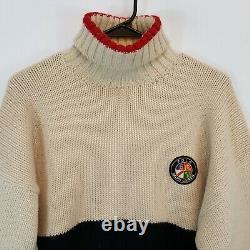 Vtg POLO RALPH LAUREN COOKIE PATCH Turtleneck Wool Sweater XL Color Block