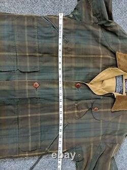Vtg POLO RALPH LAUREN PRLC M Oilskin Waxed Mens Hunting Jacket Plaid Green RARE