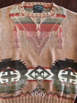 Vtg Polo Country Ralph Lauren Hand Knit Sweater Sz L Aztec Native Tribal Navajo