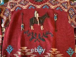 Vtg Polo Country Ralph Lauren Sweater Hand Knit Indian Horse AZTEC Men's SZ L
