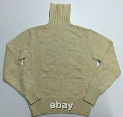 Vtg Polo Ralph Lauren 100% Cashmere Snowflake Nordic Ski Turtleneck Knit Sweater