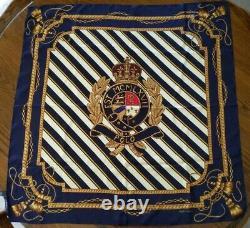 Vtg Polo Ralph Lauren 100% silk scarf made in Japan large crest medallion navy