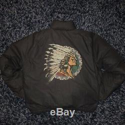 Vtg Polo Ralph Lauren Indian Head Goose Down Jacket M/L Stadium P wing black 92