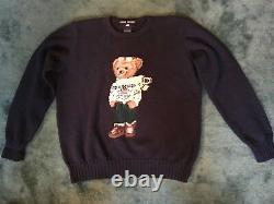 Vtg Polo Ralph Lauren Navy Teddy Bear American Flag Crewneck Sweater SZ L