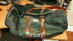 Vtg Polo Ralph Lauren Plaid Pvc Leather Duffle Bag