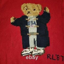 Vtg Polo Ralph Lauren Polo Bear USA Grandpa Rl67 Hand Knit Sweater Sz M 92 Rare