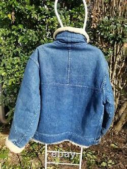 Vtg Polo Ralph Lauren RARE Hybrid Shearling Moto denim jacket coat Med Vintage