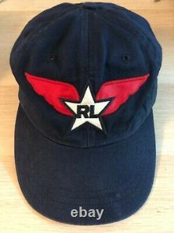 Vtg Polo Ralph Lauren Rare Navy Blue Hat White Star Red Wings Strapback Dad Hat