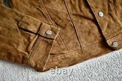 Vtg Ralph Lauren Polo Brown Suede Leather Popper Button Trucker Jacket Coat M