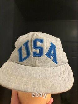 Vtg Ralph Lauren Polo Sport USA Fleece Grey Stadium cap tank Stone Island 1992